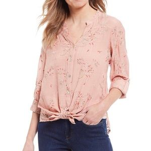 Anthro Fig and flowers - Floral embroidered blouse
